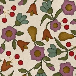 MAYWOOD Flannel Home Sweet Home Pears and Flowers on Ivory PER CM OR $20/m
