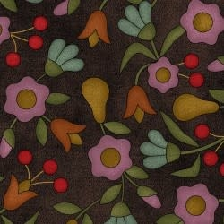 MAYWOOD Flannel Home Sweet Home Pears and Flowers on Black PER CM OR $20/m