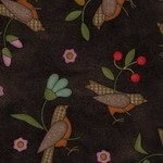 Maywood Flannel Home Sweet Home Birds on Black PER CM OR $20/m