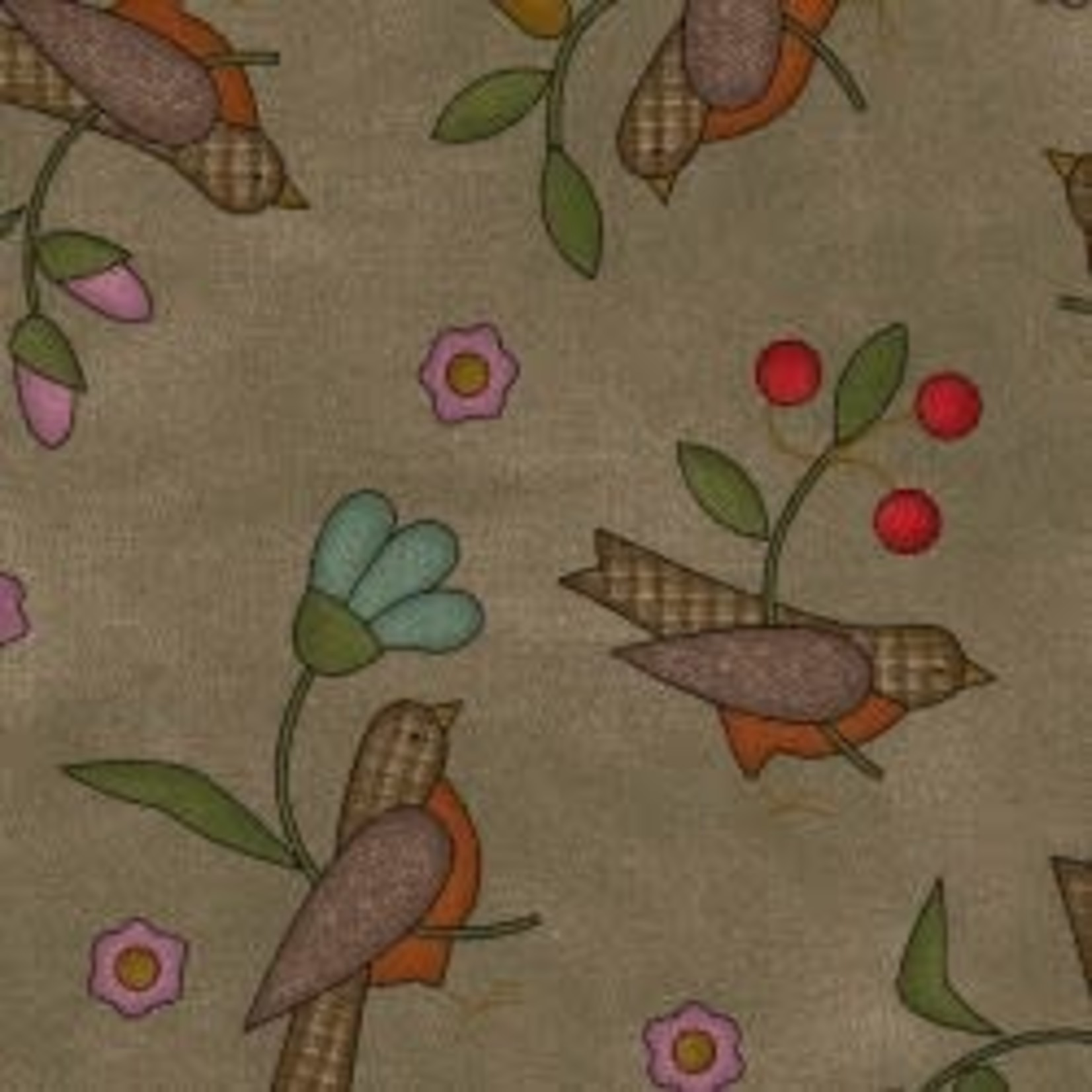 MAYWOOD Flannel Home Sweet Home Birds on Brown PER CM OR $20/m