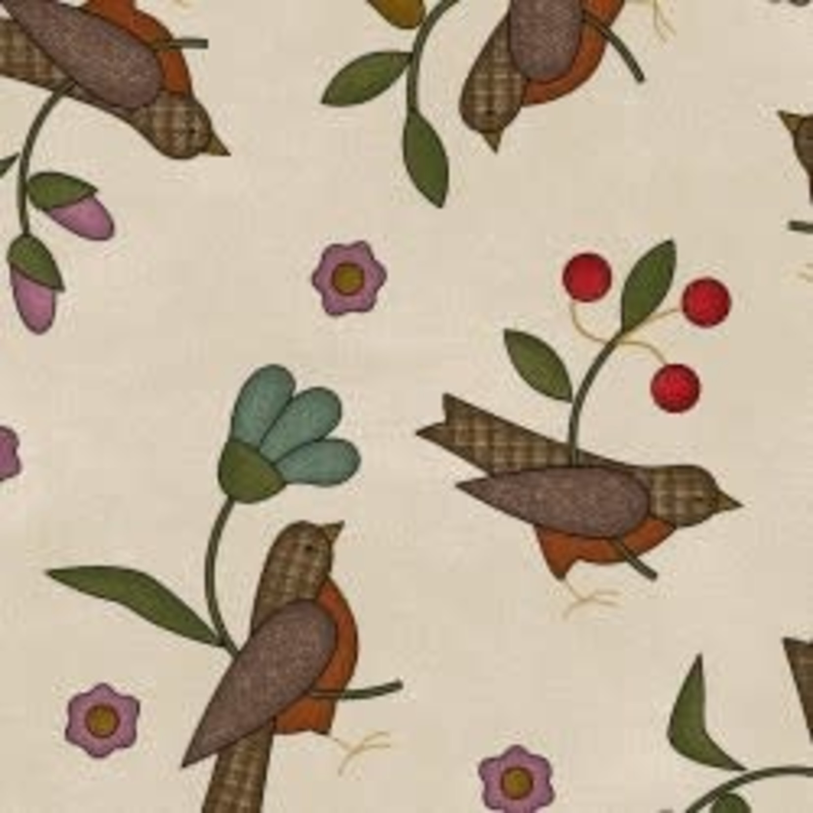 MAYWOOD Flannel Home Sweet Home Birds on Ivory PER CM OR $20/m
