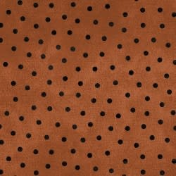 MAYWOOD Flannel Woolies Polkadots Black on Orange PER CM OR $20/m