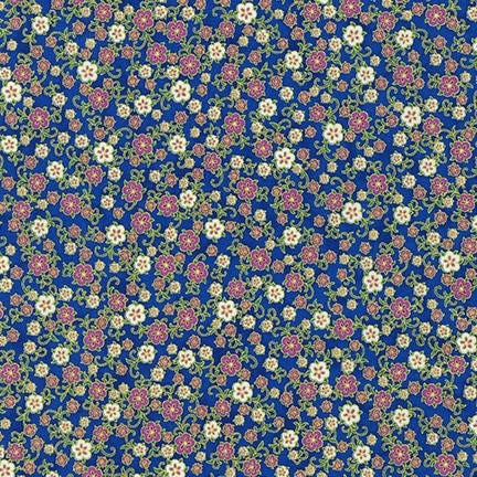 ROBERT KAUFMAN FLORENTINE GARDEN, PETITE FLOWER, ROYAL BLUE