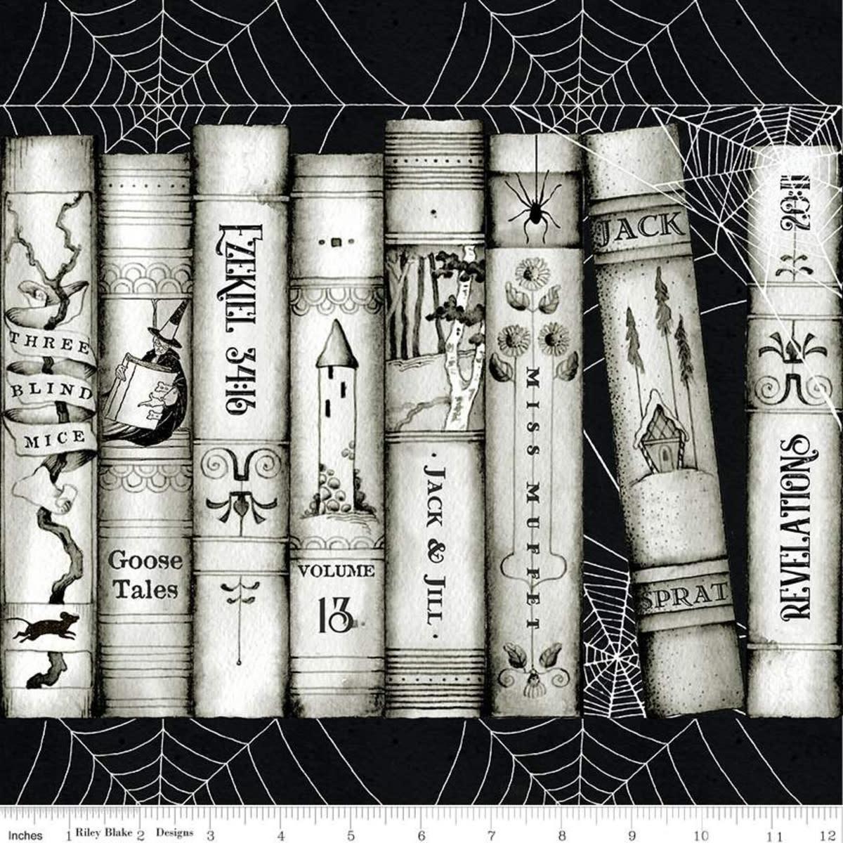 RILEY BLAKE DESIGNS Goose Tales, Book Spines Border Stripe, per cm or $20/m Halloween