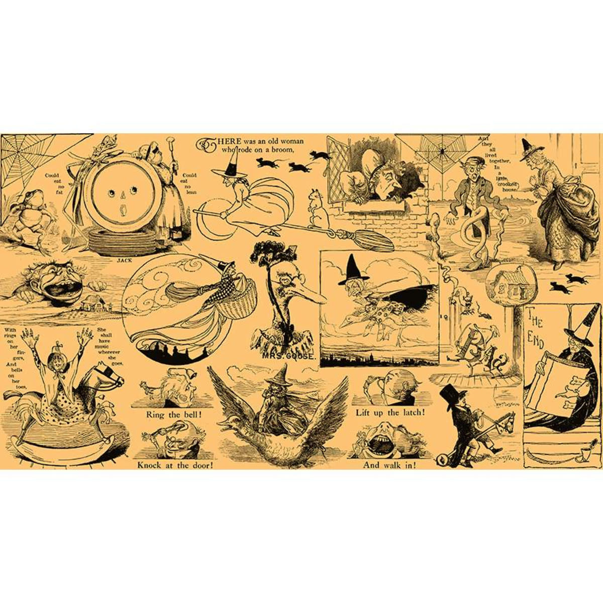 RILEY BLAKE DESIGNS Goose Tales, Tall Tales Allover Motifs Orange, per cm or $20/m Halloween