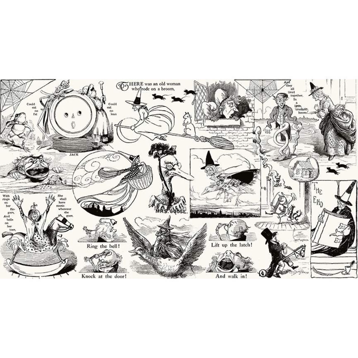 RILEY BLAKE DESIGNS Goose Tales, Tall Tales Allover Motifs Off White, per cm or $20/m