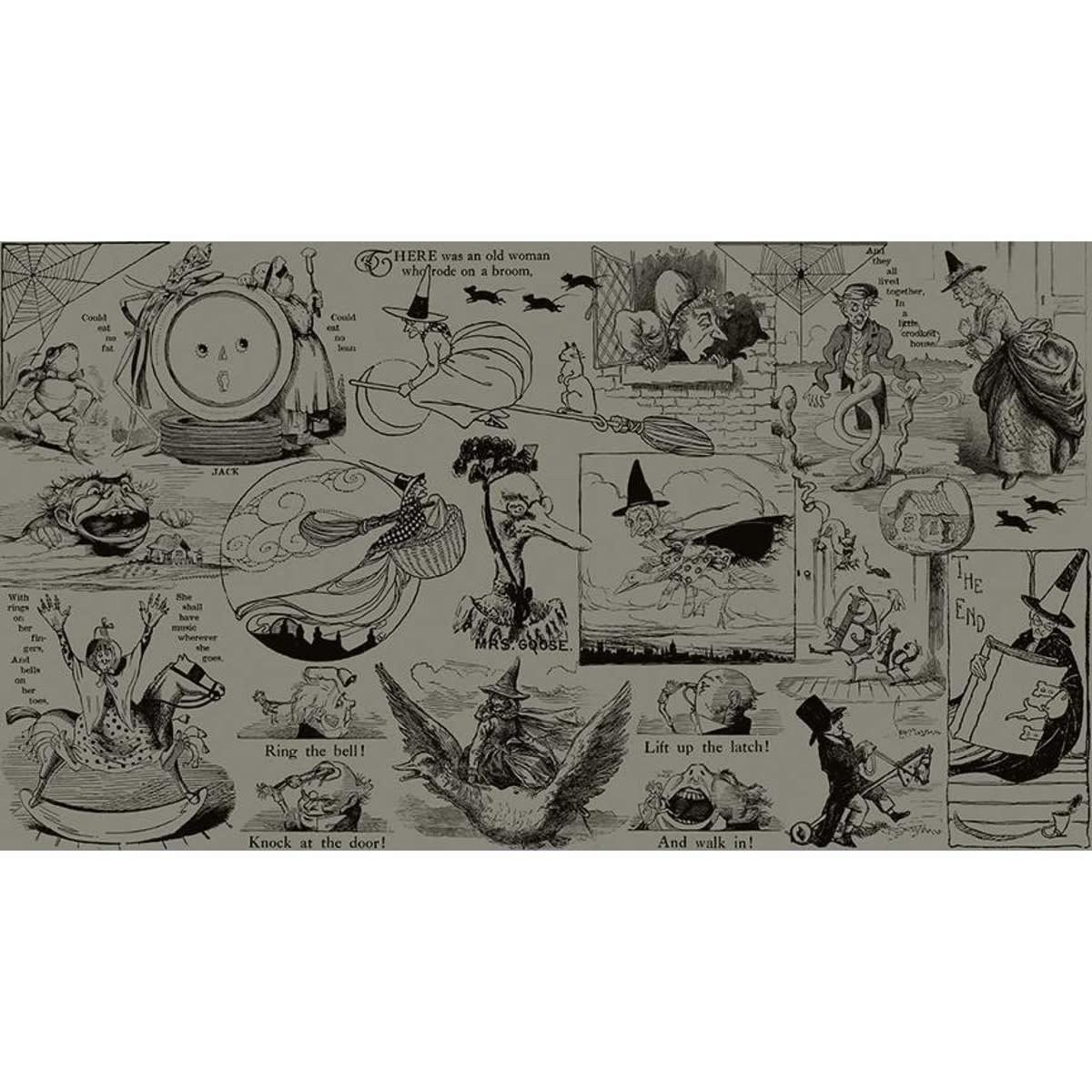 RILEY BLAKE DESIGNS 100cm Goose Tales, Tall Tales Allover Motifs Gray, $20/m