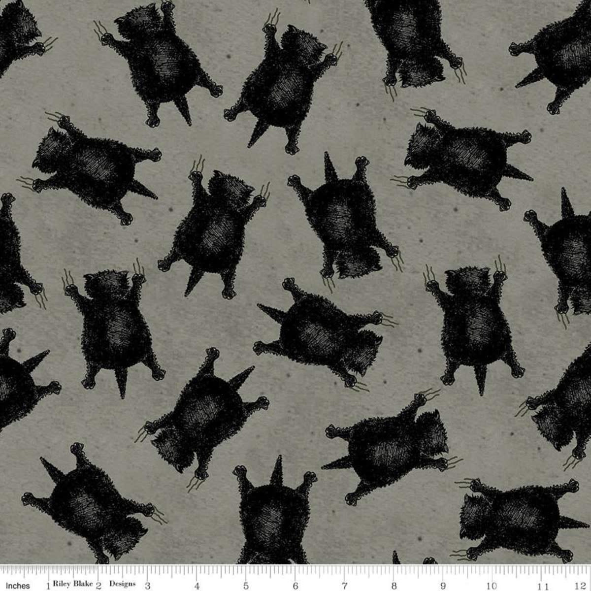 RILEY BLAKE DESIGNS Goose Tales, Scaredy Cats Toss Gray, per cm or $20/m