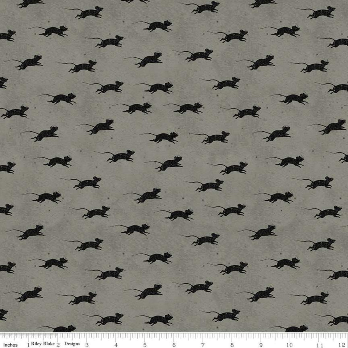 RILEY BLAKE DESIGNS Goose Tales, Blind Mice Gray, per cm or $20/m Halloween