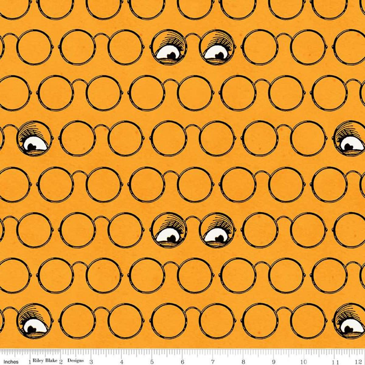 RILEY BLAKE DESIGNS Goose Tales, Spooky Specs Orange, per cm or $20/m
