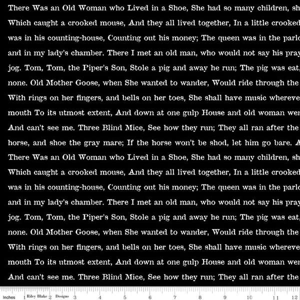 RILEY BLAKE DESIGNS Goose Tales, Text Black, per cm or $20/m