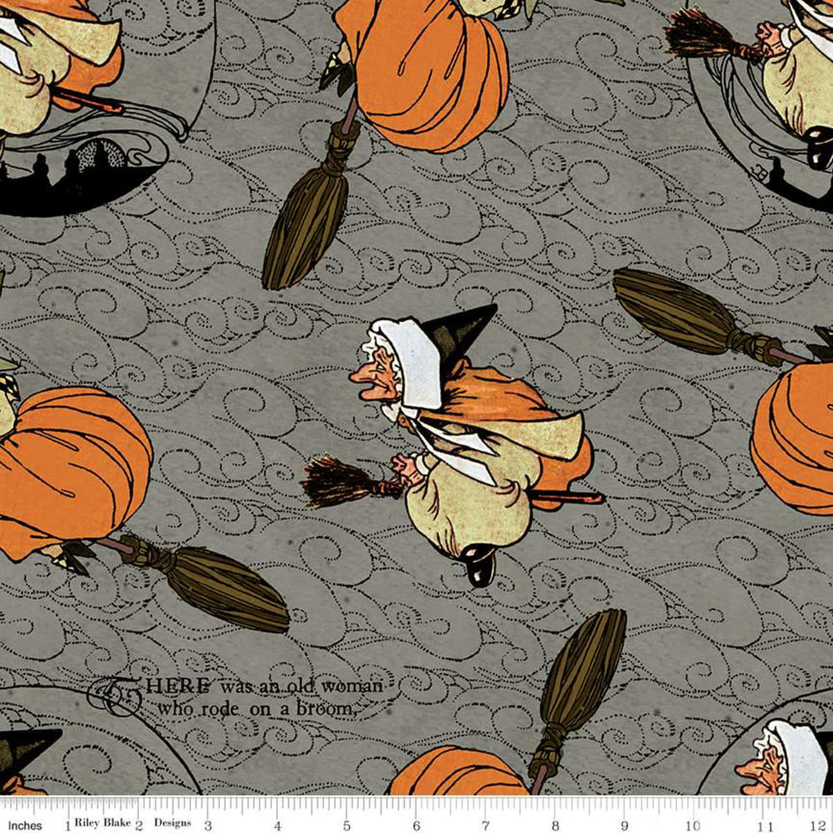 RILEY BLAKE DESIGNS Goose Tales, Old Mother Goose Toss Gray, per cm or $20/m