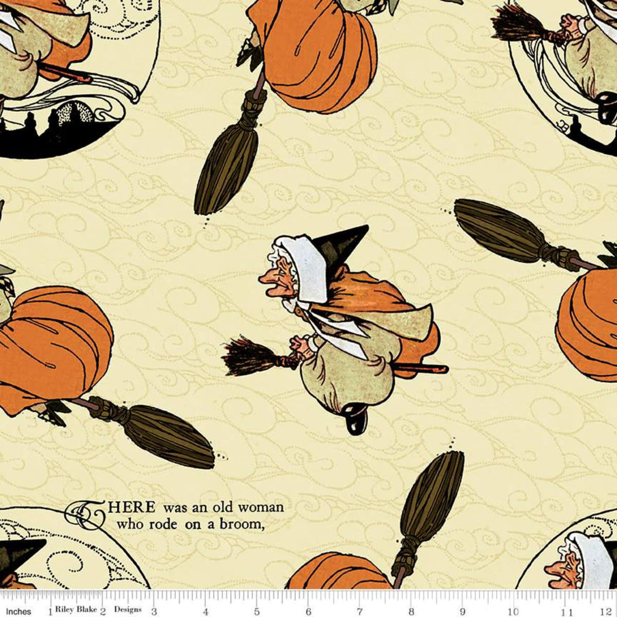 RILEY BLAKE DESIGNS Goose Tales, Old Mother Goose Toss Cream, per cm or $20/m