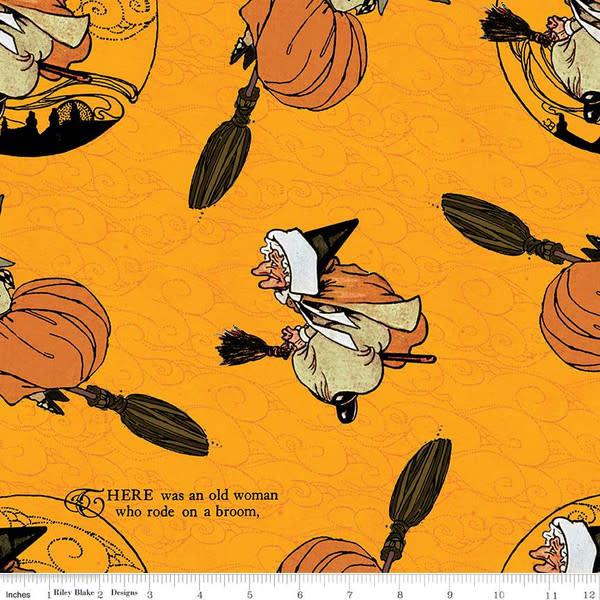 RILEY BLAKE DESIGNS Goose Tales, Old Mother Goose Toss Orange, per cm or $20/m