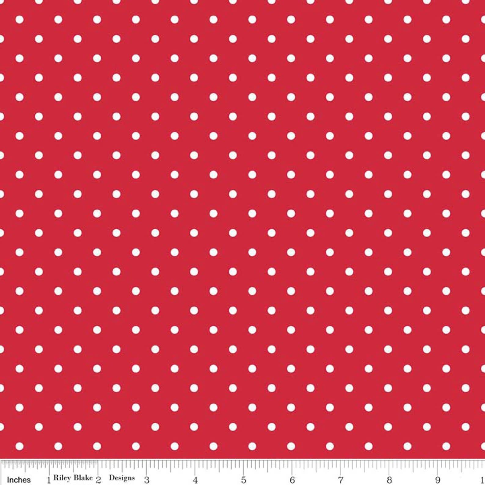 RILEY BLAKE DESIGNS SWISS & DOT, RED $.20CM, $20M