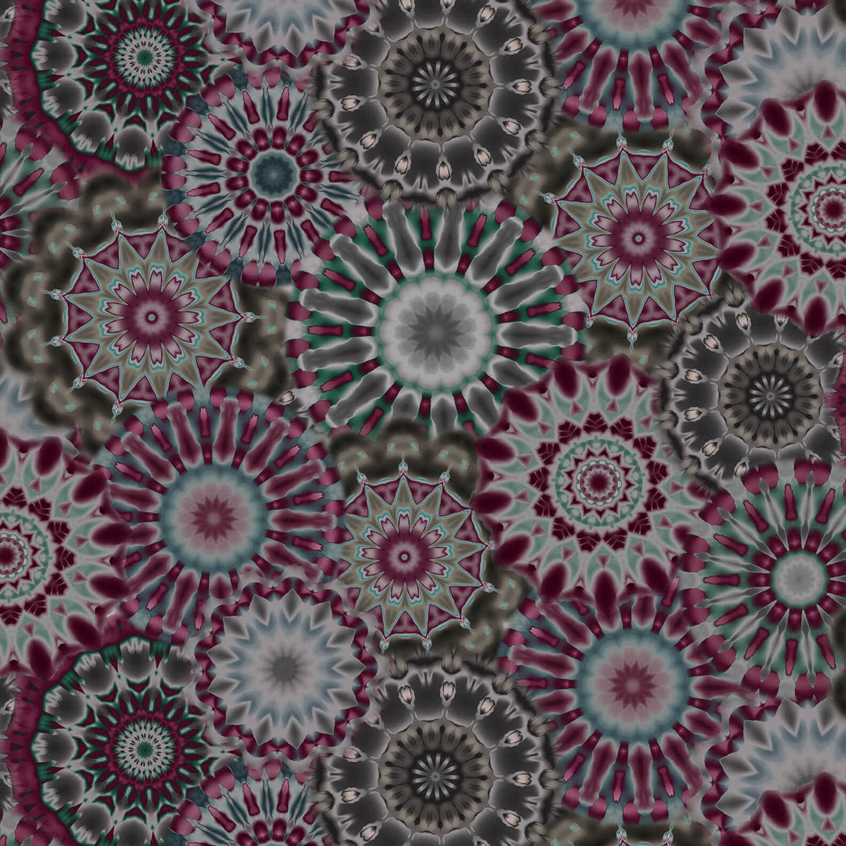 """Blank Quilting Corp Radiance - Kaleidoscope, Charcoal , 108"""" WIDE, PER CM or $32/M"""