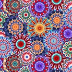"""Blank Quilting Corp Radiance - Kaleidoscope, Blue , 108"""" WIDE, PER CM or $32/M"""