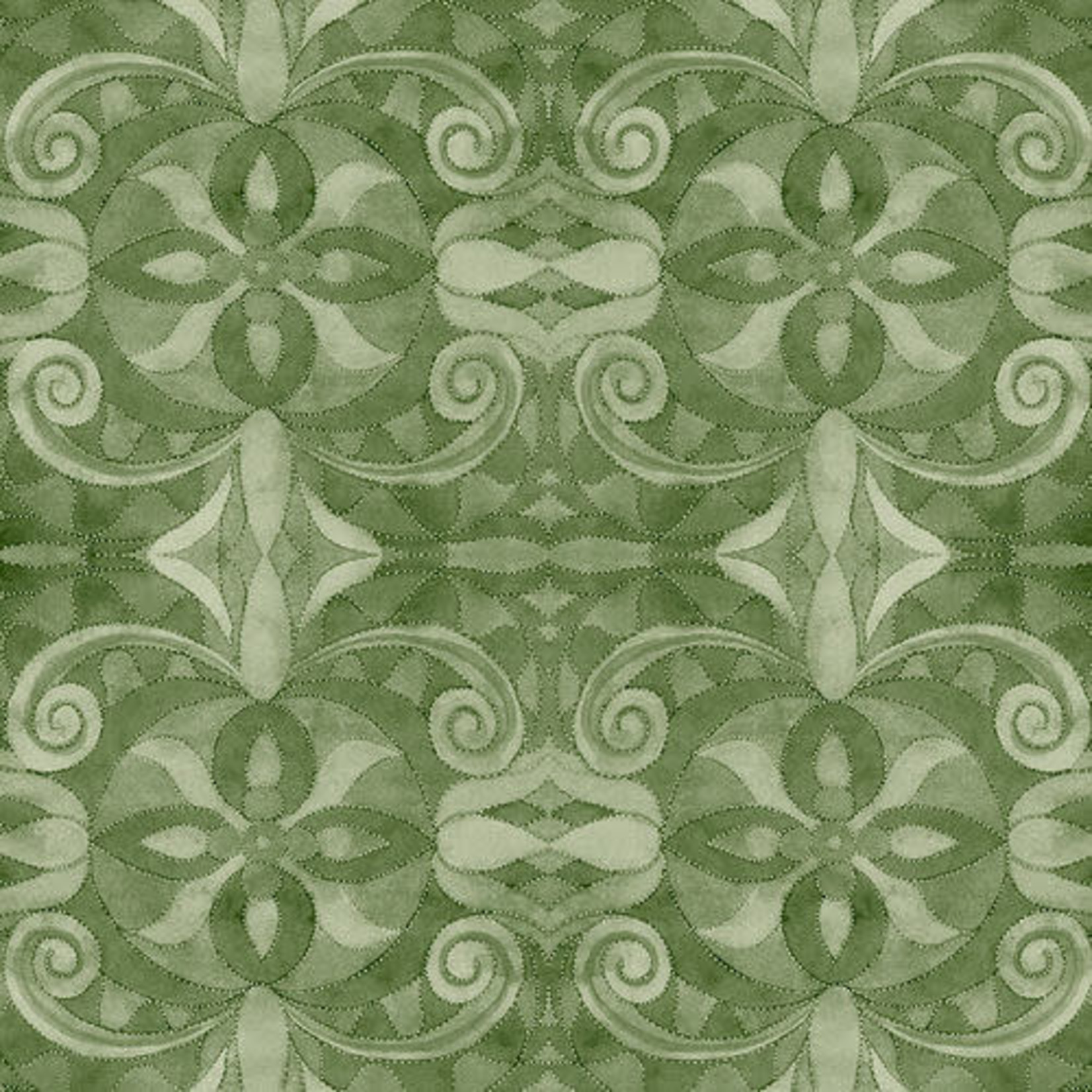 """Blank Quilting Corp Baroque - Green 108"""" WIDE, PER CM or $30/M"""