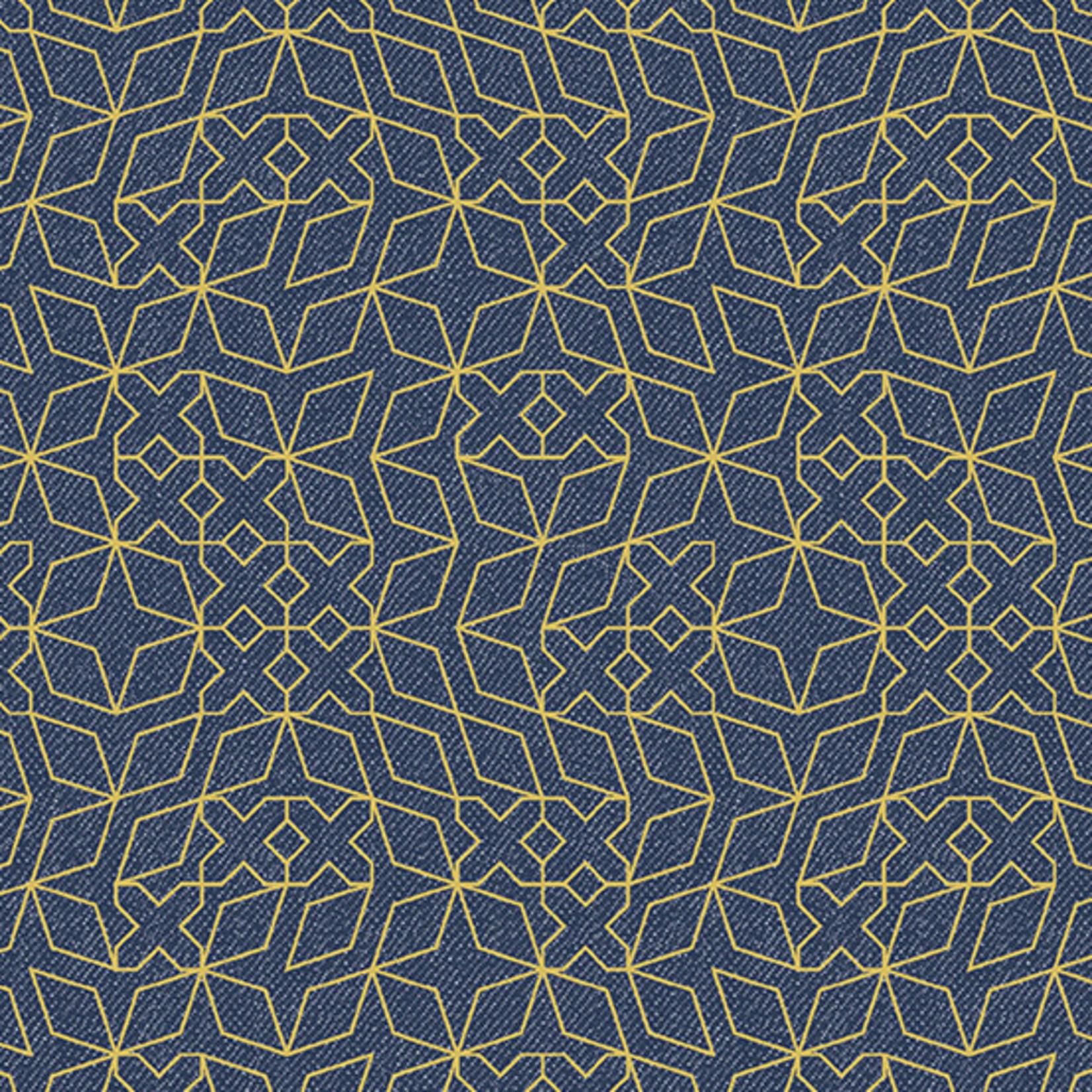 Andover Almost Blue, Stitch, Indigo Metallic, $0.20/cm or $20/m