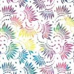 """WP Studio Essentials - Petals, Rainbow on White, 108"""" WIDE, PER CM or $32/M"""