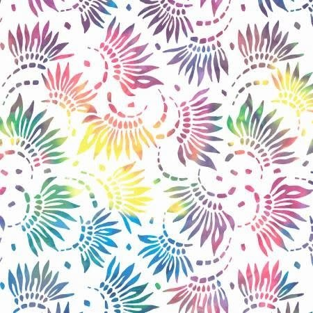 "WP Studio Essentials - Petals, Rainbow on White, 108"" WIDE, PER CM or $32/M"