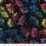 "WP Studio Essentials - Petals, Rainbow on Black, 108"" WIDE, PER CM or $32/M"