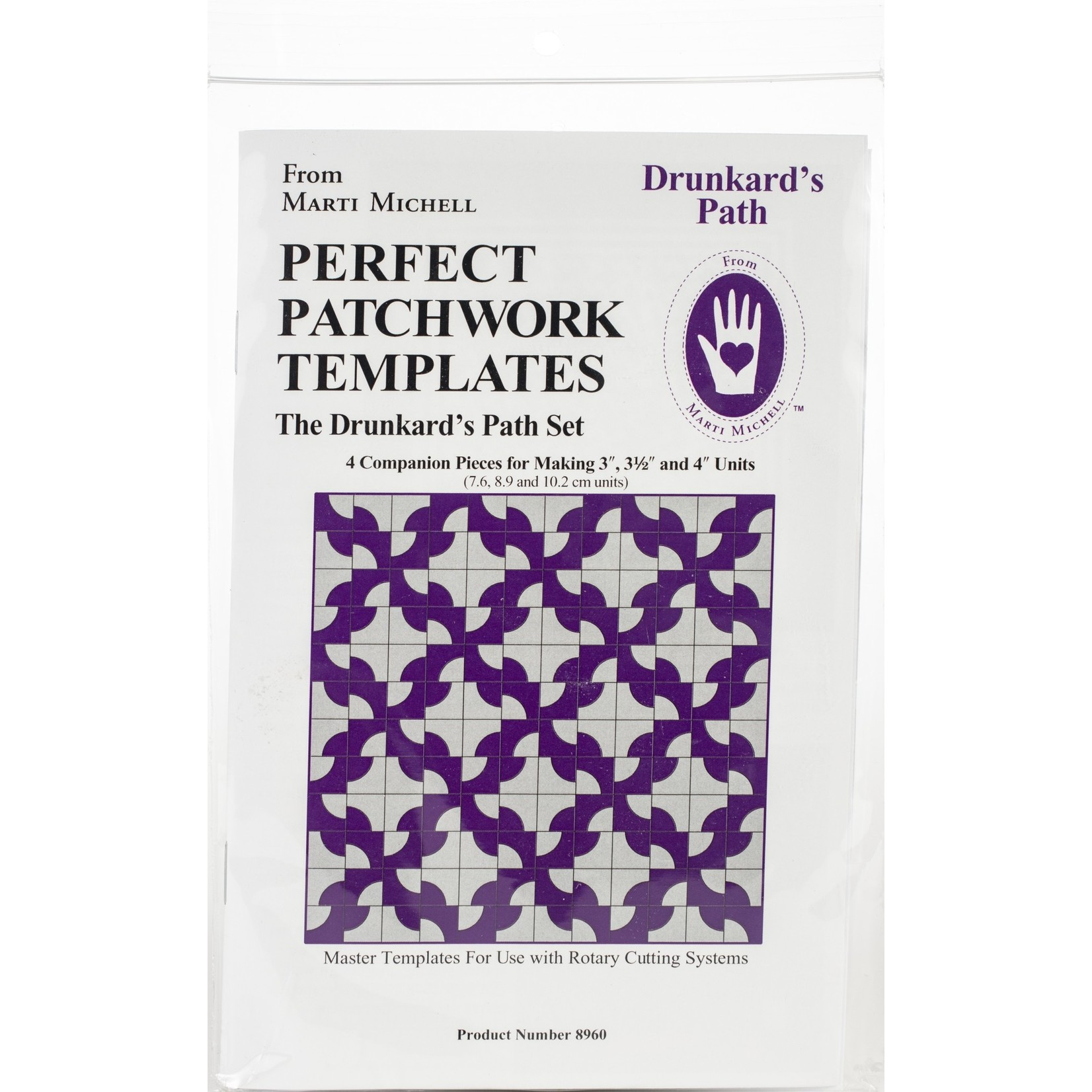 "MARTI MICHELL Perfect Patchwork templates, Drunkard's Path set (3""-4"")"