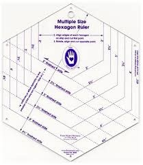 "MARTI MICHELL Hexagon Ruler - 6 Sizes, 2-4"" on a finished side"