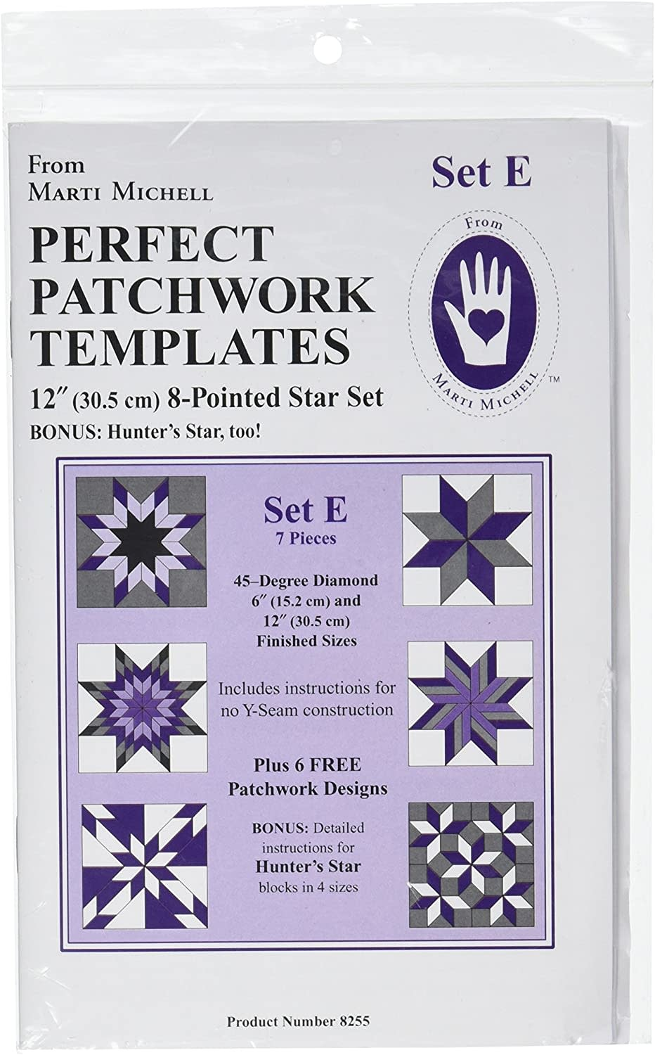 "MARTI MICHELL Perfect Patchwork Templates, Set E - 12"" 8-pointed Star set"