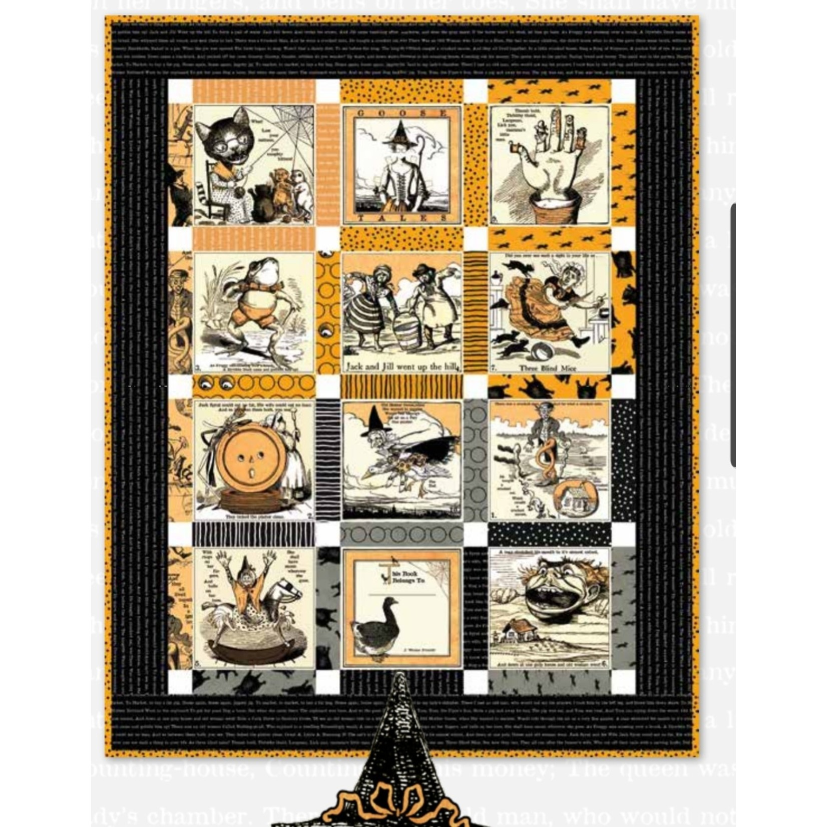 RILEY BLAKE DESIGNS SCARY STORY BOOK QUILT KIT (WITH GREY BACKING)