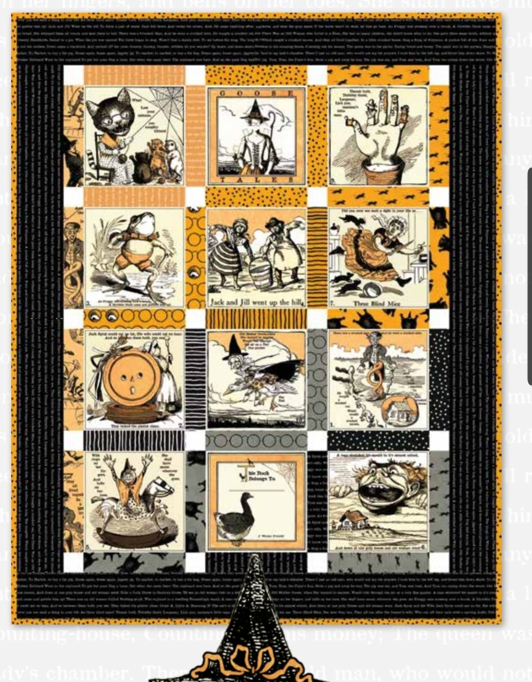 RILEY BLAKE DESIGNS SCARY STORY BOOK QUILT KIT (WITH ORANGE BACKING)