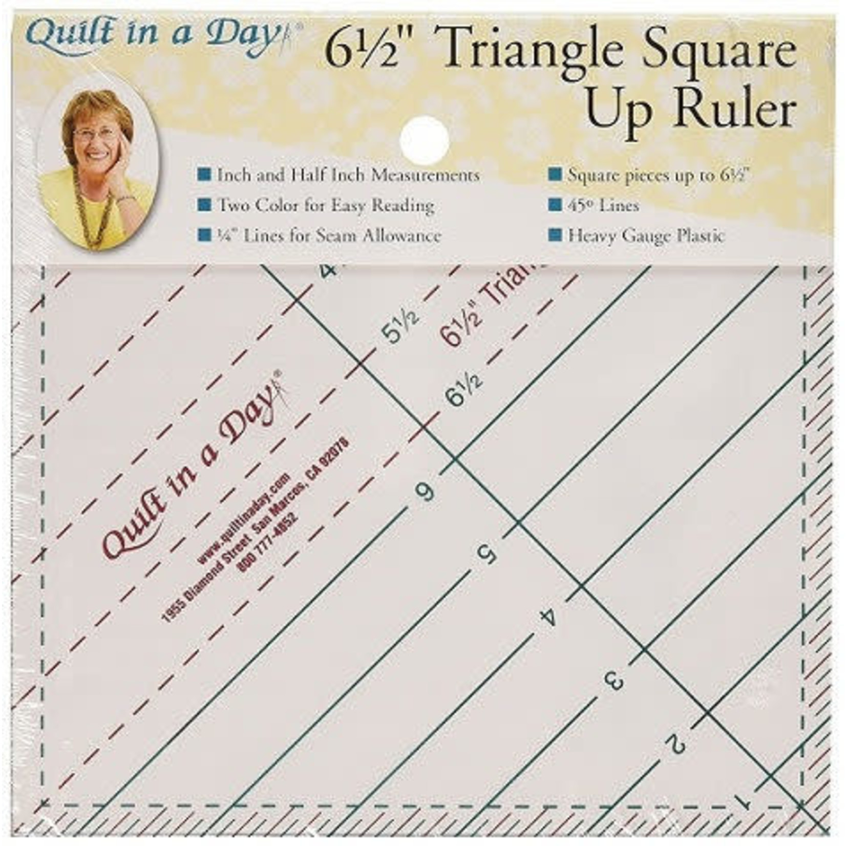 """Quilt In A Day 6 1/2"""" TRIANGLE SQUARE UP RULER"""