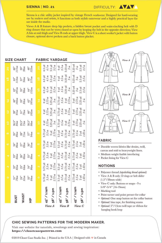 Closet Case Patterns Sienna Maker Jacket Pattern 0-20