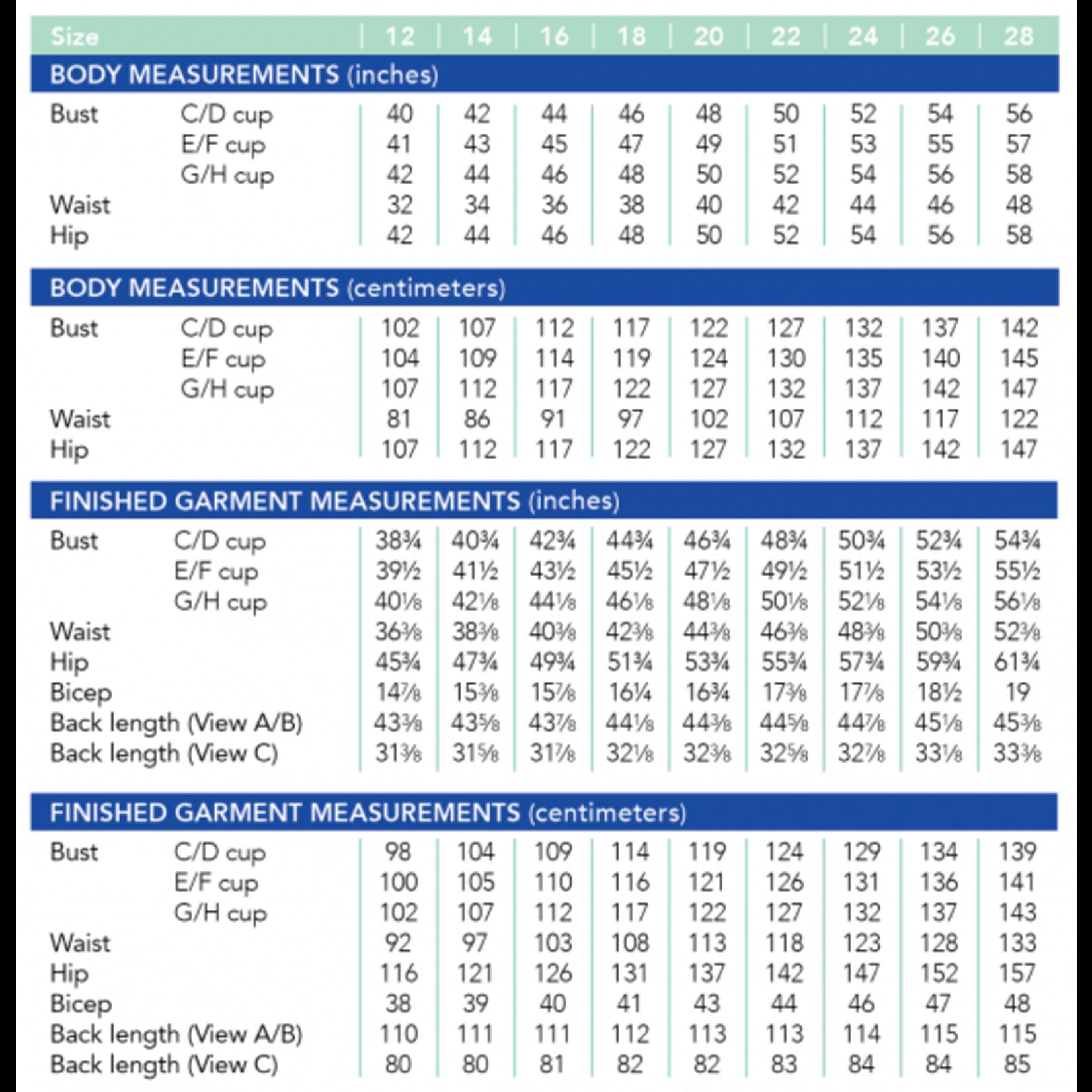 Cashmerette Pembroke Dress & Tunic Pattern 12-28 (Cup C-H)