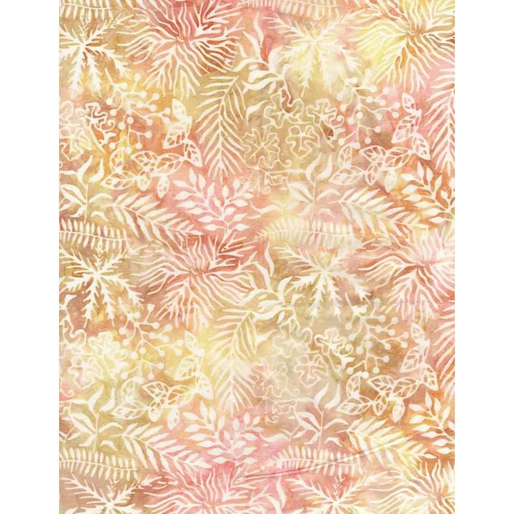 Tonga TONGA HORIZON, Assorted Leaves Sunrise- PER CM OR $20/M BATIK