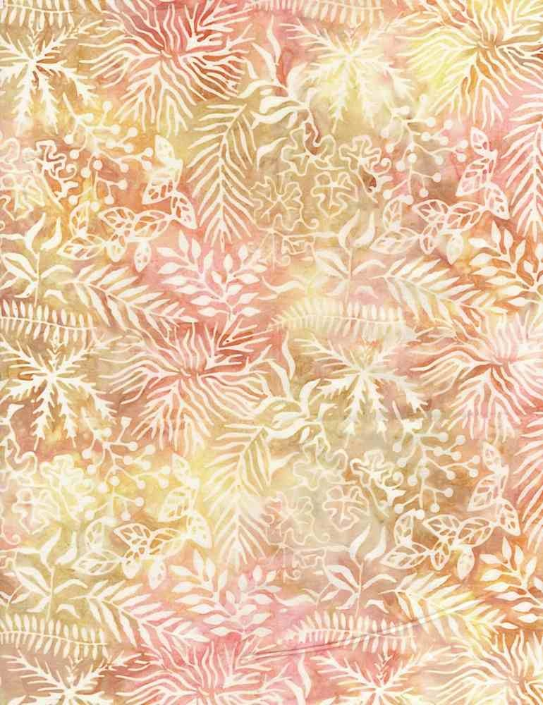 Tonga TONGA HORIZON, Assorted Leaves Sunrise- PER CM OR $20/M BATIK
