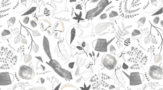 DEAR STELLA Autumn Journal, White,  /cm or $20/m