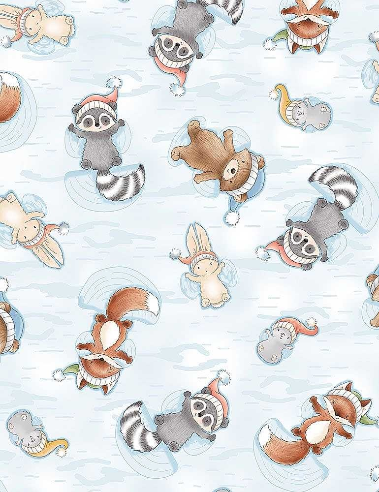 TIMELESS TREASURES Snow Day, Flannel, Animals Making Snow Angels, per cm or $20/m