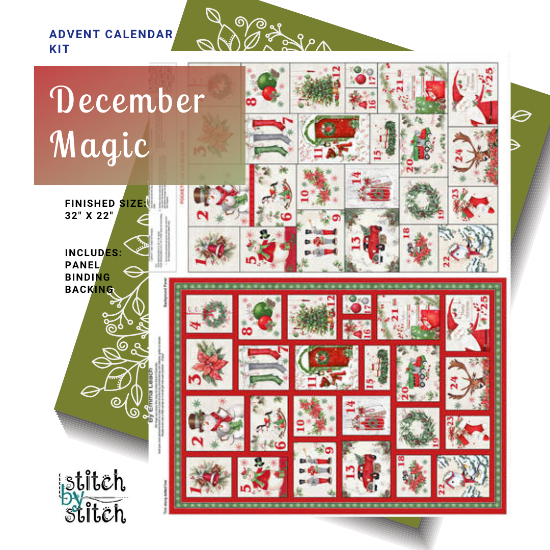Blank Quilting Corp December Magic - ADVENT CALENDAR KIT (WITH OMBRÉ SNOWFLAKE GREEN BACKING)