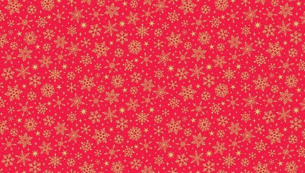 MAKOWER Yuletide, Metallic Snowflake, Red $0.20CM OR $20/M