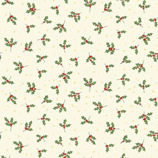 MAKOWER Yuletide, Holly, Cream $0.20CM OR $20/M
