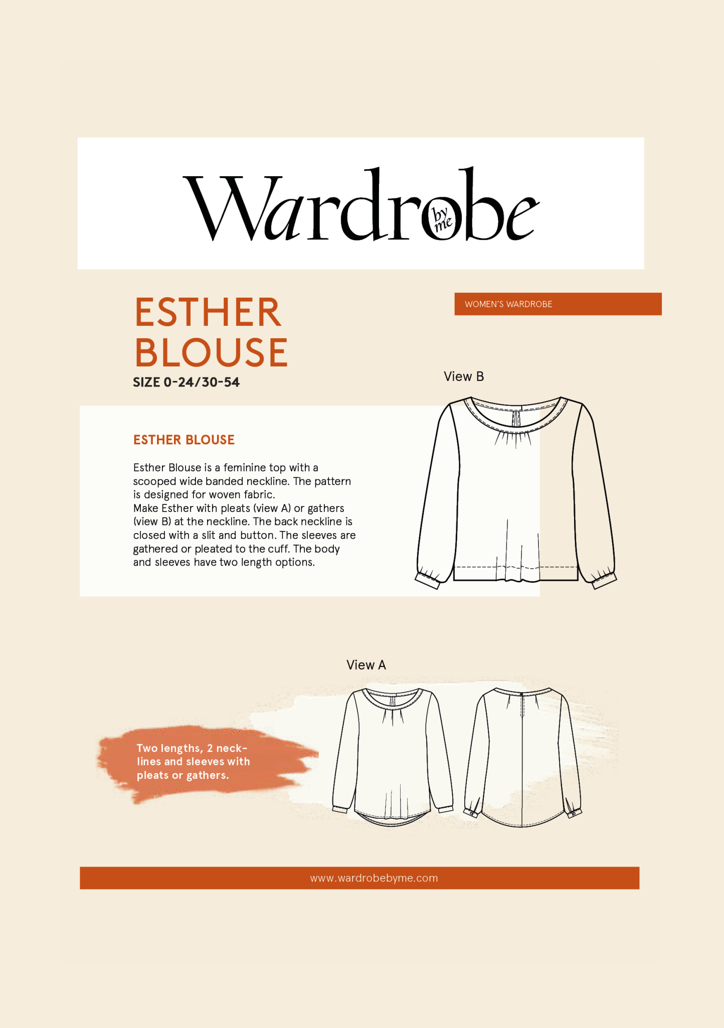 Wardrobe by Me Esther Blouse Pattern 0-24 (30-54)
