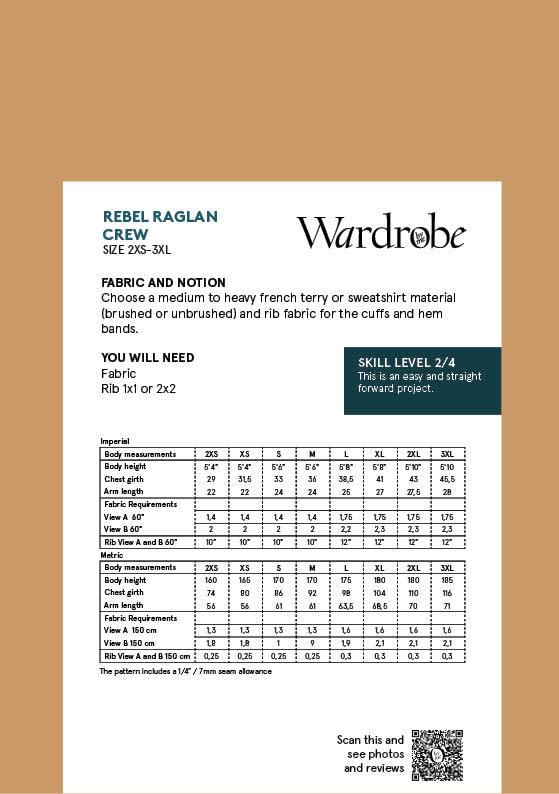 Wardrobe by Me Rebel Raglan Crew Pattern 2XS-3XL