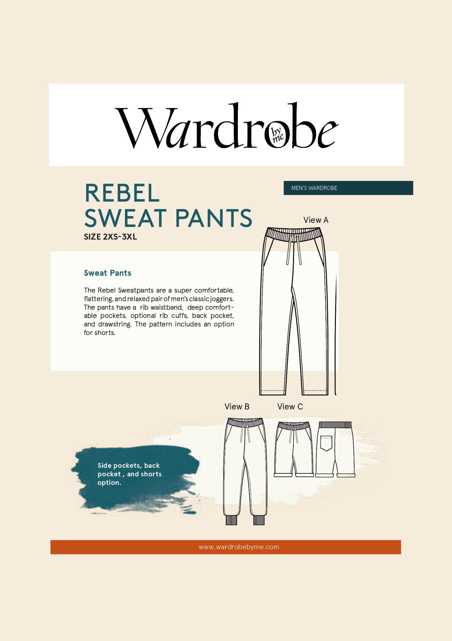 Wardrobe by Me Rebel Sweat Pants Pattern 2XS-3XL