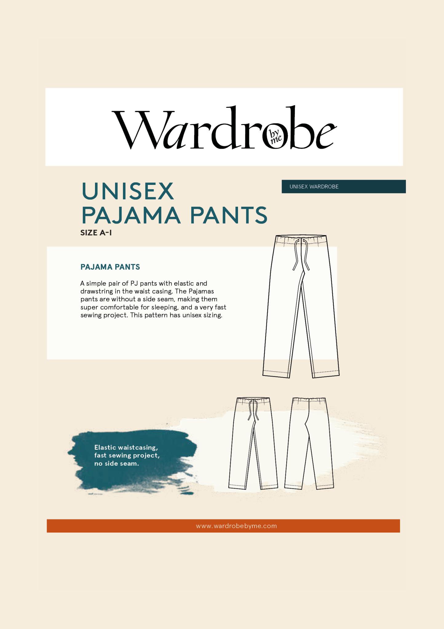 Wardrobe by Me Unisex Pajama Pants Pattern Size A-I