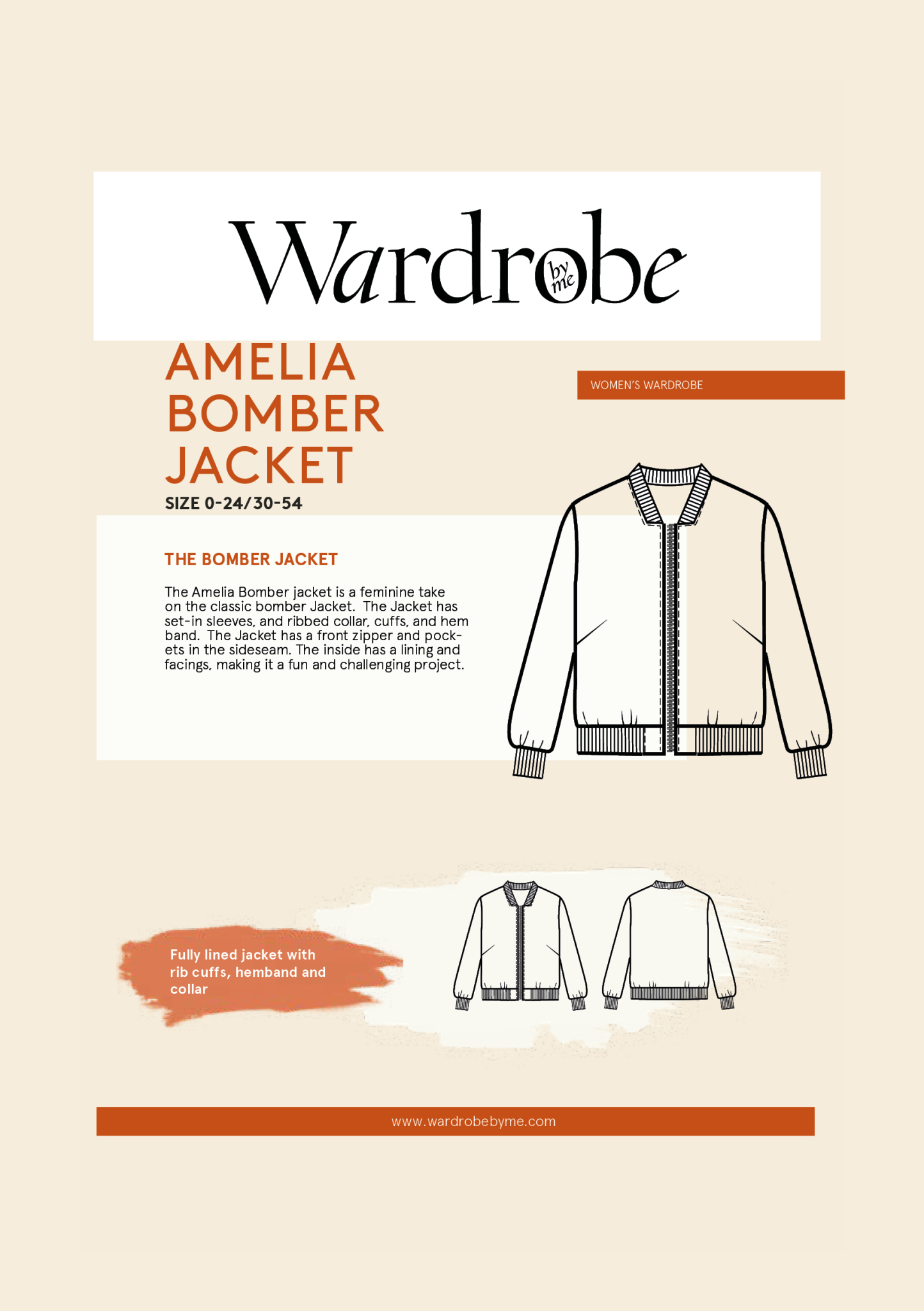 Wardrobe by Me Bomber Jacket Pattern 0-24 (30-35)