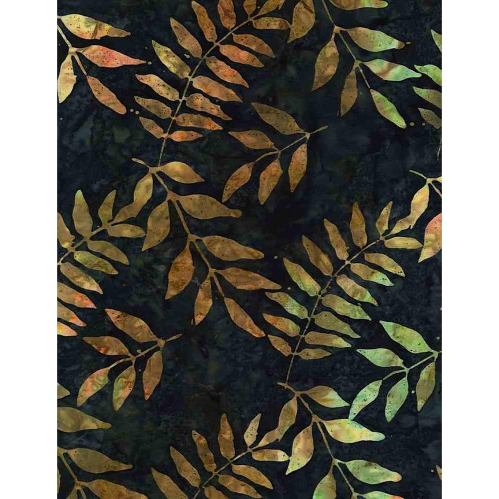 Tonga TONGA HORIZON, BLACK WALNUT TREE LEAVES- PER CM OR $20/M BATIK