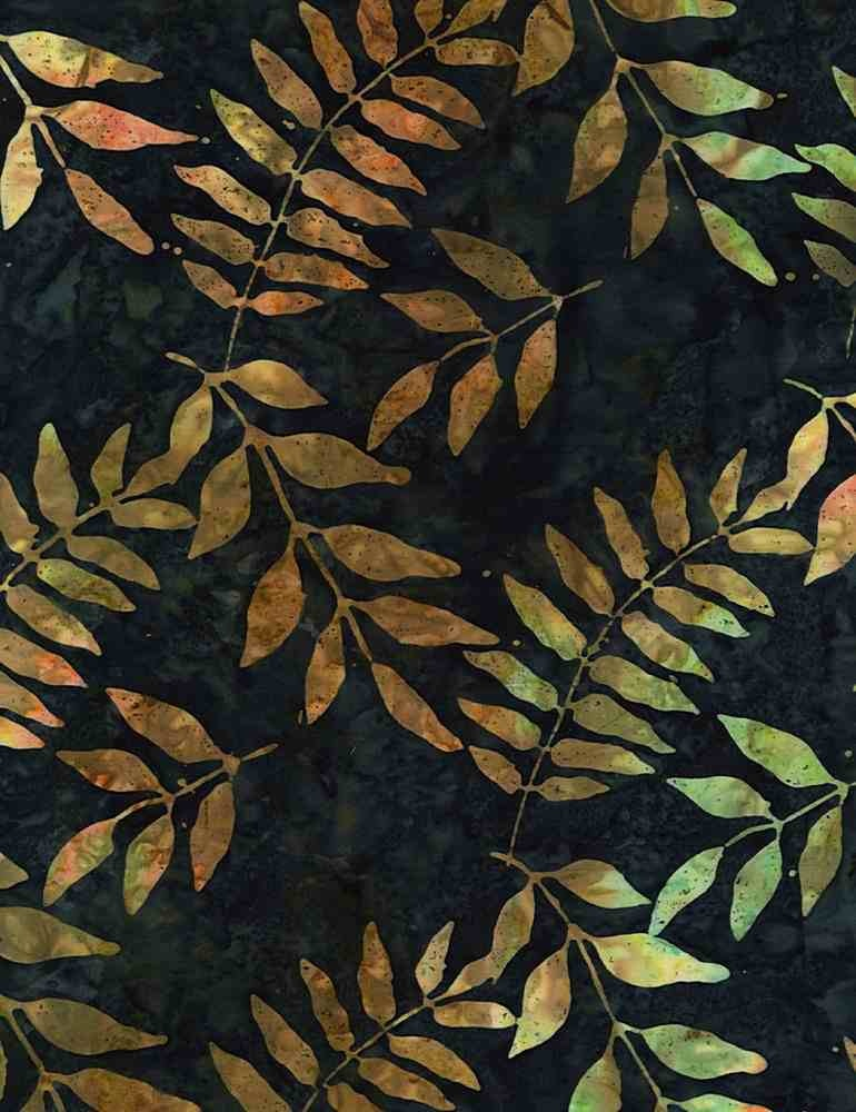 Tonga TONGA HORIZON, BLACK WALNUT TREE LEAVES- PER CM OR $20/M BATIK