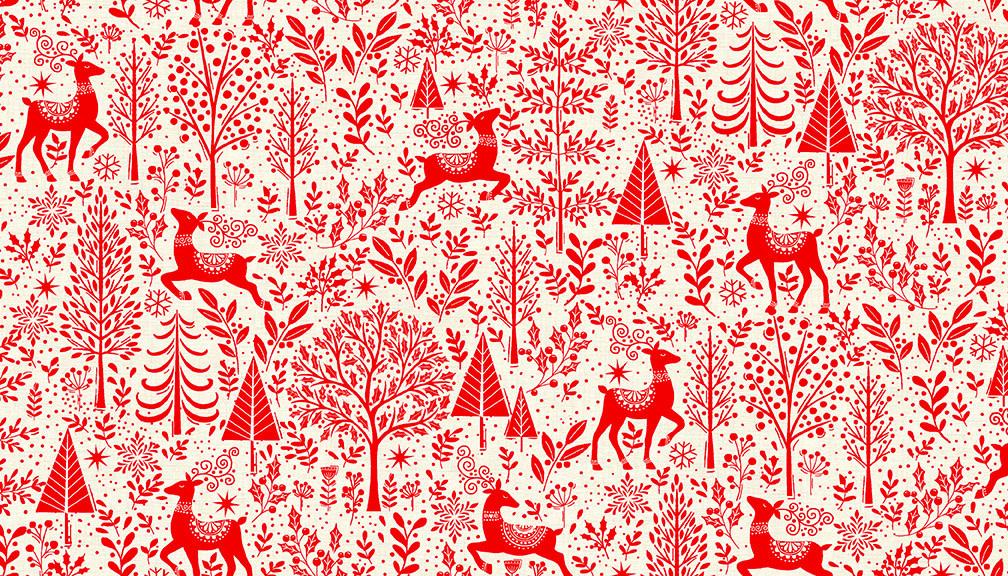 MAKOWER Scandi - Scenic – Red, per cm or $20/m