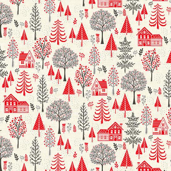 MAKOWER Scandi - Trees – Red, per cm or $20/m